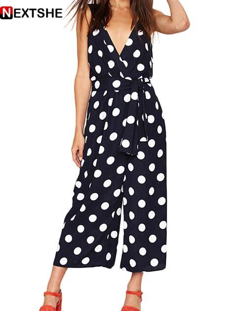44194 Black Retro Pattern S M L Jumpsuit designer jumpsuit 2015 black polka dot v neck backless