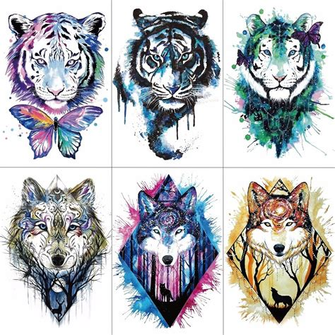 fake sleeve tattoos for men tcool arm sleeve sticker wolf tiger temporary