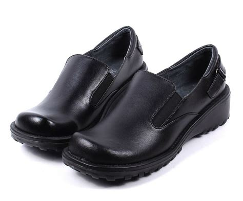 black new genuine leather slip on womens wedges heels oxfords shoes size 8 ebay