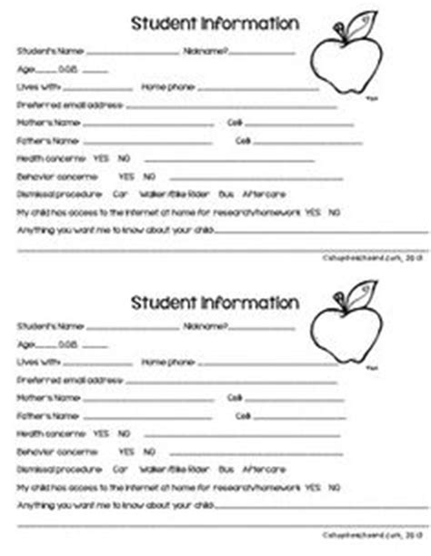 Student Information Card Template For Teachers by 1000 Images About School Worksheets On Puzzle