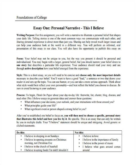 College Application Essay Narrative 29 Exles Of College Essays
