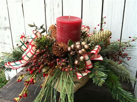 country christmas centerpiece candle arrangement