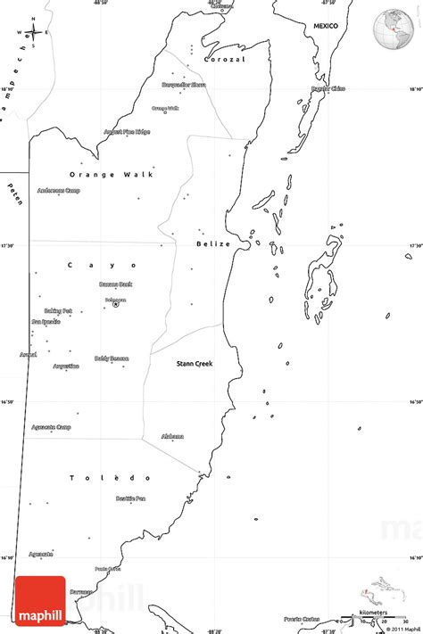 coloring page of map of belize blank simple map of belize