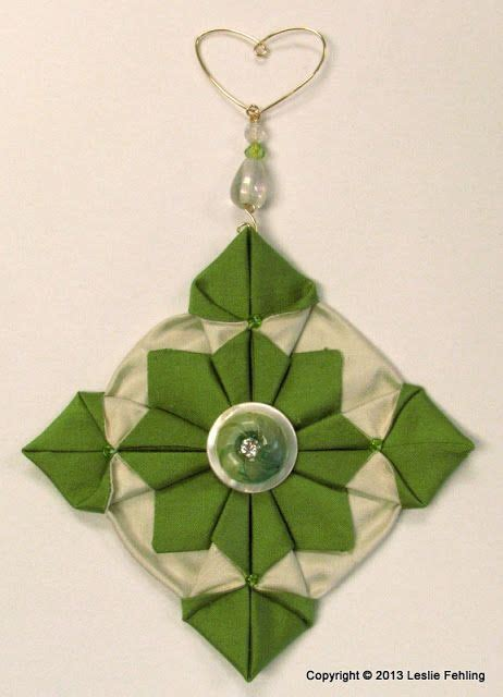 Fabric Origami Ornaments - origami sewing and ornaments on