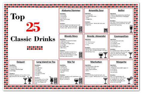 top bar drink recipes laminated bar cocktail recipe drink chart zieglerworld com