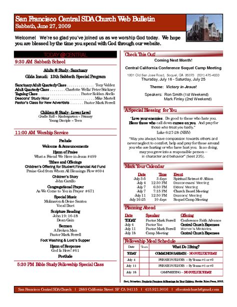 church bulletin template pin sle church bulletins on