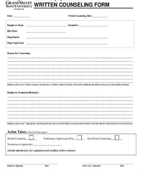 employee counseling form template 9 sle employee counseling forms sle templates