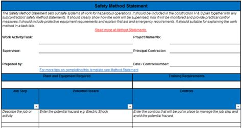 safety method statement for construction excel template free