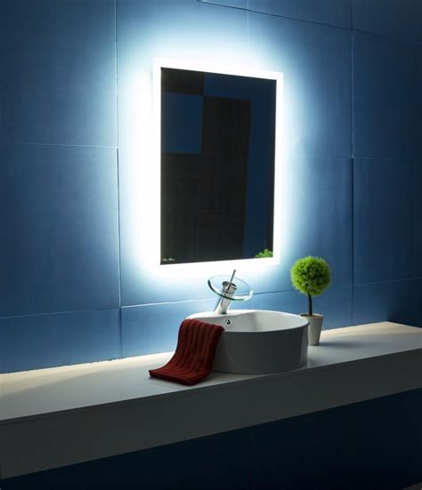 backlit bathroom mirror backlit bathroom mirror rectangle 24x32 in the light