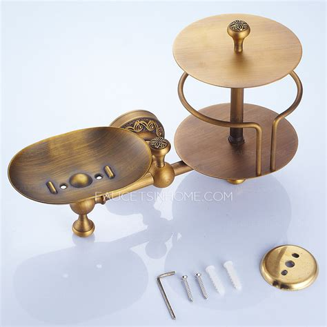 Bronze Bar Faucet Antique Brass Toilet Paper Roll Holder With Soap Dish