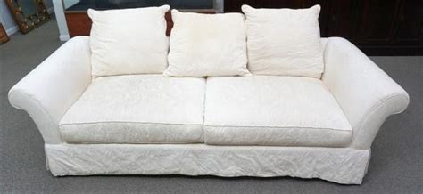 vintage white brocade sofa