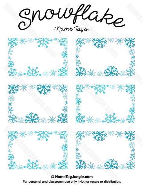 printable winter name tags printable snowflake name tags