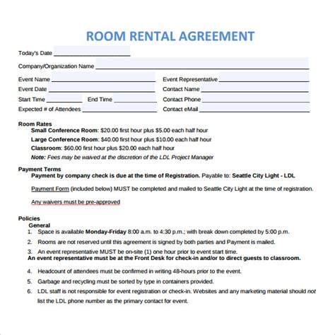 9 Sle Room Rental Agreements Sle Templates Room Rental Agreement Template