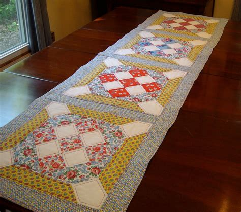 Patchwork Table Runner - sewing with the sparrows quilted table runner