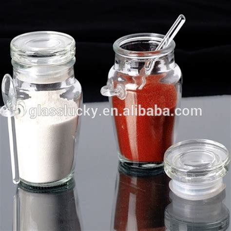 Unique Spice Jars Glass Spice Jar With Spoon Unique Shape Spice Bottle With