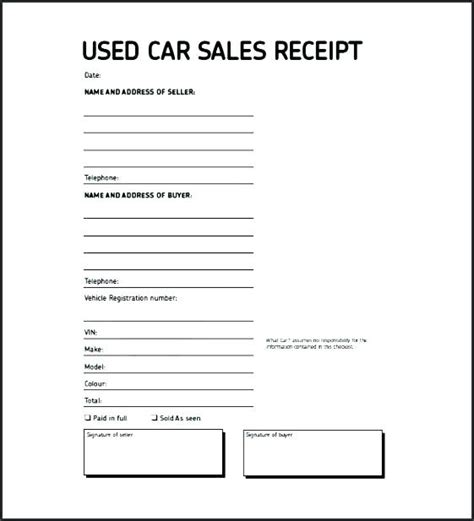 Used Motorcycle Sales Receipt Template by Sold As Seen Receipt Template Car Vehicle Sales Receipt