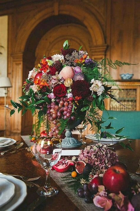 bountiful arrangement with grapes great for a fall