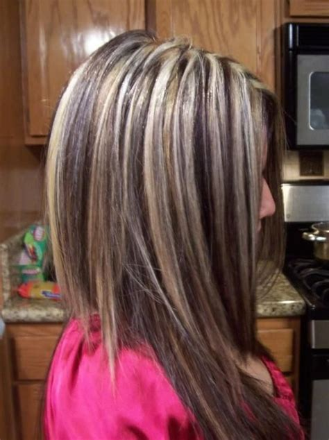chunking highlights dark hair pictures dark hair with blonde chunky highlights chunky