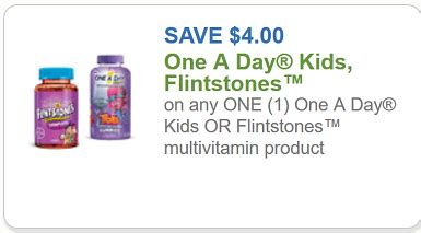 flintstones coupon $4 off any one one a day kids or