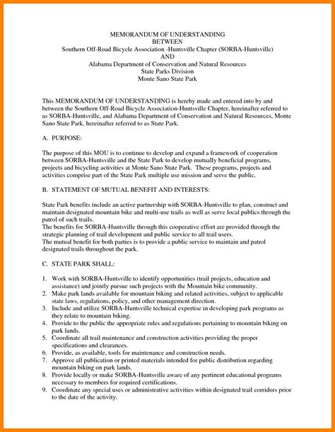 memorandum of understanding templates 11 letter of understanding template packaging clerks