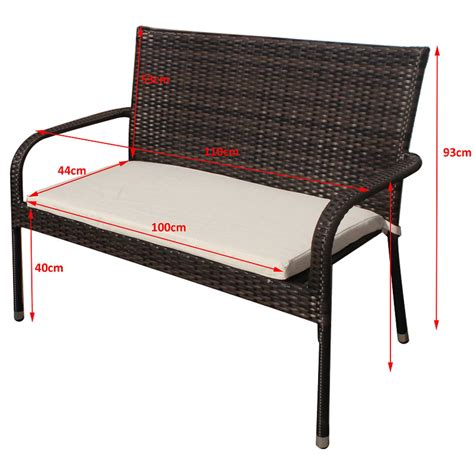 Wicker Patio Bench by Pu Rattan Garden Bench Patio Outdoor Balcony With Cushion
