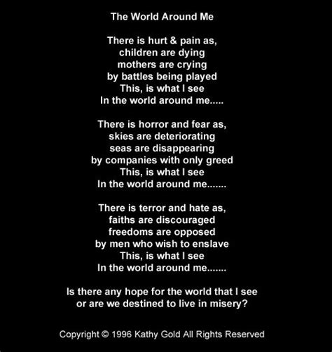 Search All The World The World Around Me This Poem Was Also On The Fly For