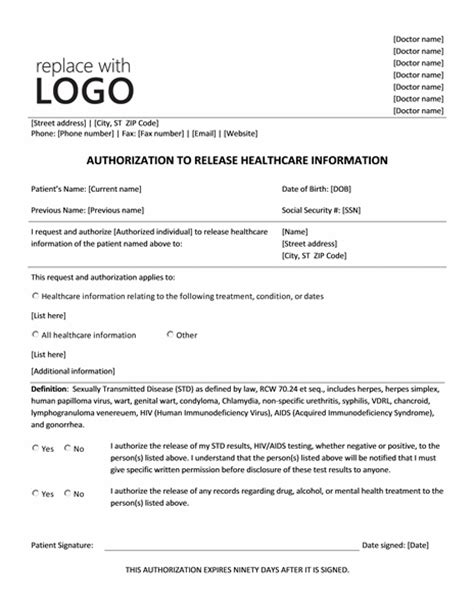 consent for release of information template authorization to release healthcare information form