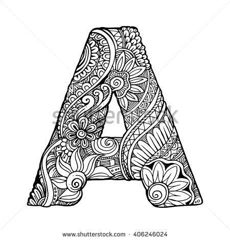 zentangle stylized alphabet letter a vector stock vector