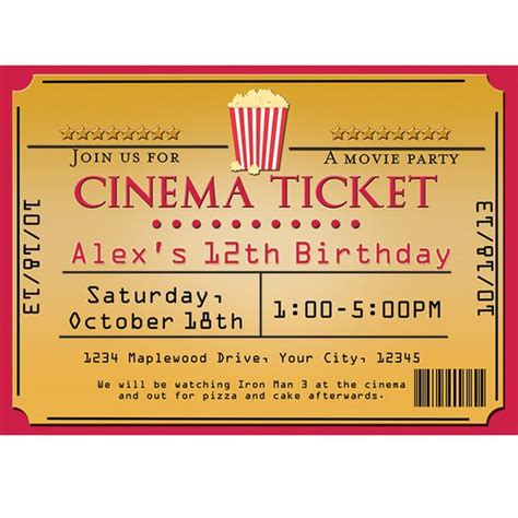 ticket invite template cinema theater popcorn ticket birthday event