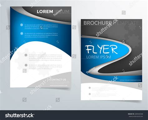 Blue Curve Brochure Template Vector Background Stock Vector 289940348 Shutterstock Blue Flyer Template