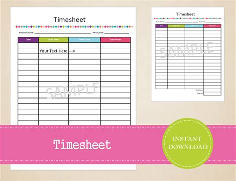 printable home business planner timesheet business printables small business planner