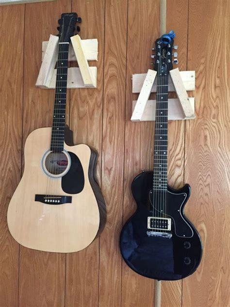 Hanger Gitar Wood Base guitar hangers made from wood by merafijicraft on etsy wood guitar hanger