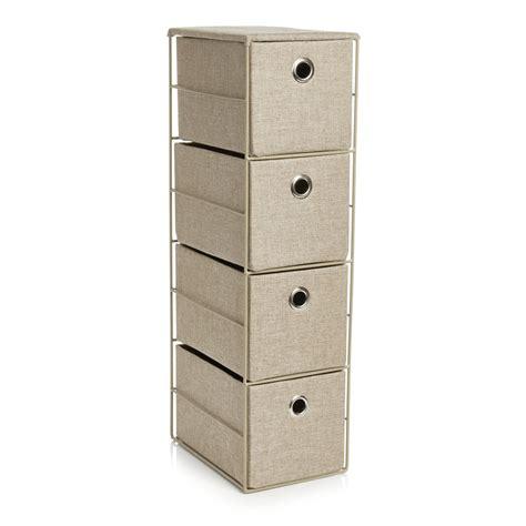 Slim Storage Drawers Storage Unit White 4 Drawer