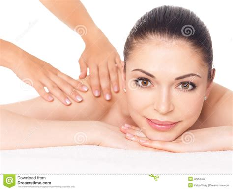 full body massage for women or ladies in gurgaon new woman having massage of body in spa salon stock photo