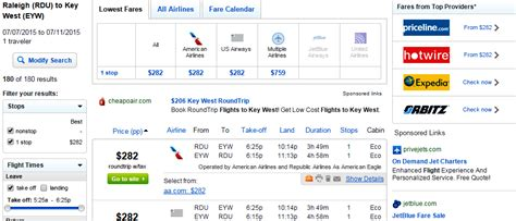 222 296 atlanta d c raleigh to key west r t fly travel