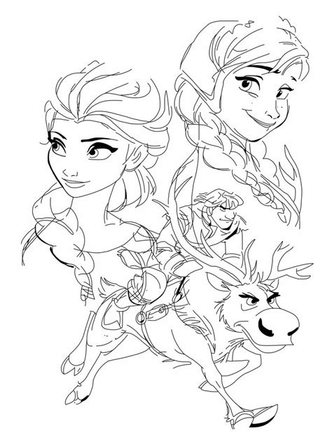 elsa and anna christmas coloring pages frozen sven anna elsa kristoff and sven by