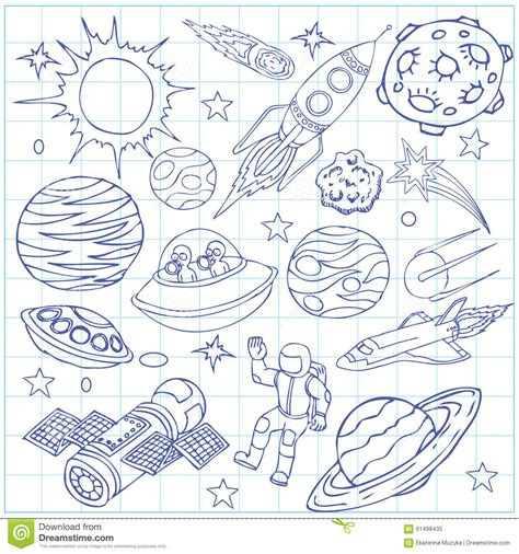 doodle sign up sheet sheet of exercise book with outer space doodles stock