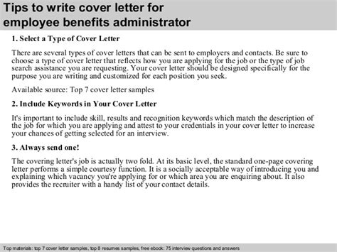 Employee Benefits Administrator Cover Letter employee benefits administrator cover letter