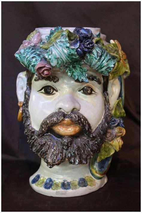 testa di testa di moro caltagirone 37 cm ceramiche arte