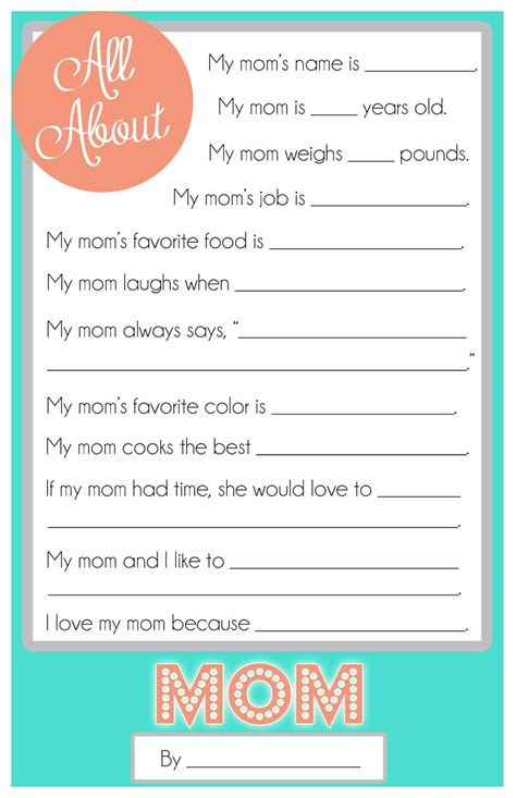 printable relationship questionnaire mother s day questionnaire a free printable for the kids