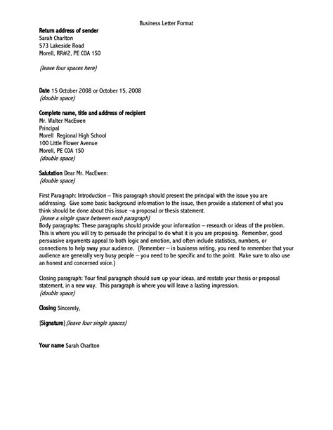 formal business letter format to whom it may concern letters example