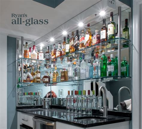 hanging stack bar  glass shelves  mirror wall