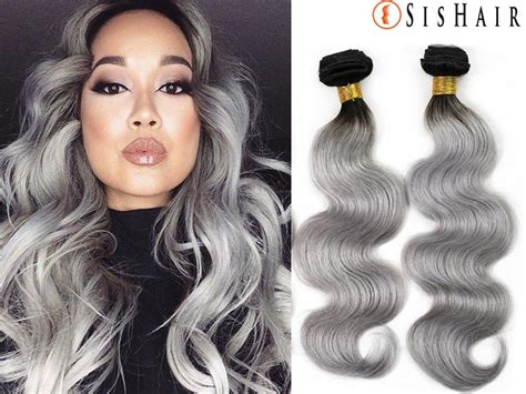 saga ombre remy hair 1 bundle 8a granny silver gray ombre brazilian virgin