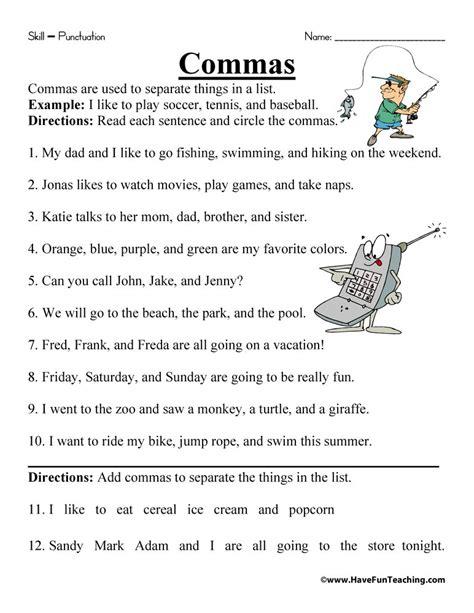 comma worksheet teaching