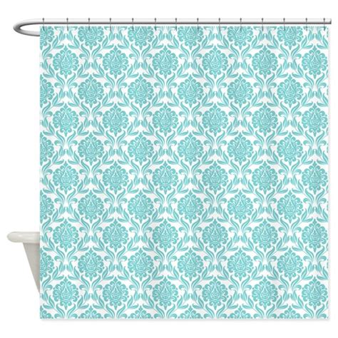pattern for shower curtain aqua damask pattern shower curtain by mcornwallshop