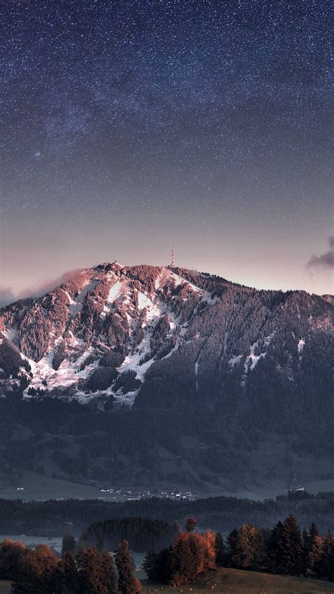 switzerland alps mountains stars galaxy iphone wallpaper