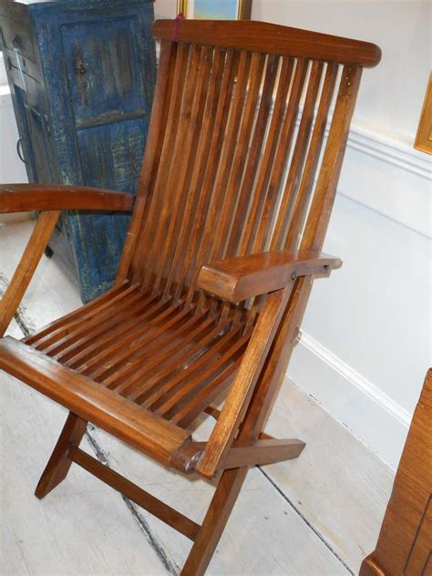 Teak Deck Chairs Four Teak Folding Deck Chairs From Mid Century Cruise Ship