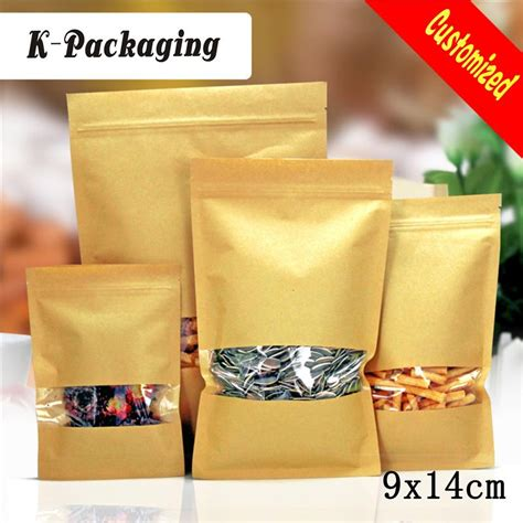 9 X 14 Kraft Paper Kemasan Bubuk Zip Lock Packaging Kopi 2018 9x14cm 3 side food grade kraft zip lock bag kraft paper bag small kraft window sachet from