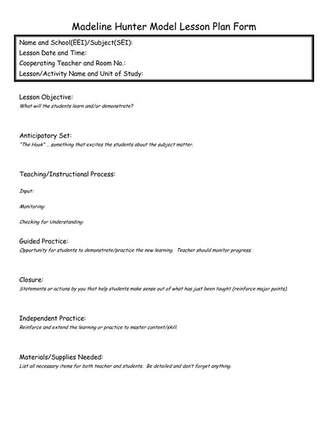 start lesson plan template madeline lesson plan format template