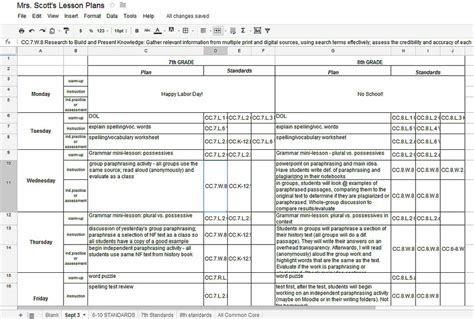 Lesson Plan Template Google Docs Printable Schedule Template Docs Lesson Plan Template